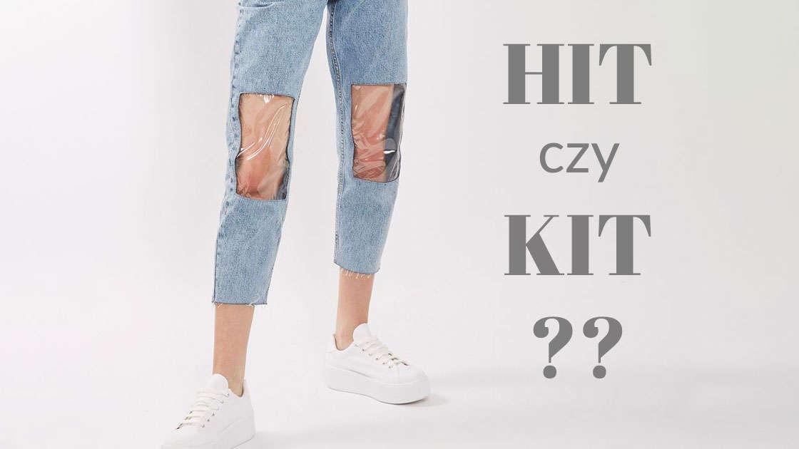 """""""Jeansy Mamy"""" z plastikowymi okienkami na kolanach? Serio TOPSHOP?"""