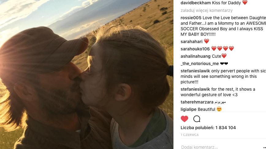 David Beckham krytykowany za pocałowanie córki w usta