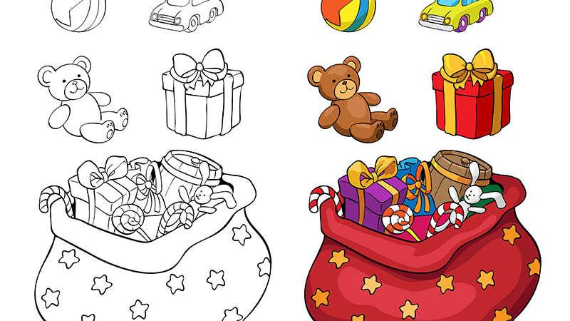 Kolorowanka: Prezenty świąteczne