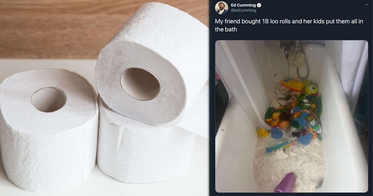 18 rolek papieru toaletowego, kupionych na czas kwarantanny, dzieci postanowiły wykorzystać w bardziej kreatywny sposób [UWAŻAJCIE na swoje zapasy! ;)]