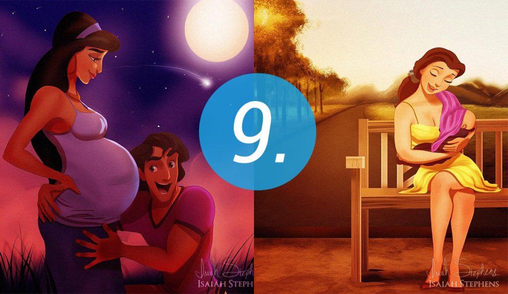 9 Księżniczek Disneya w roli mamy