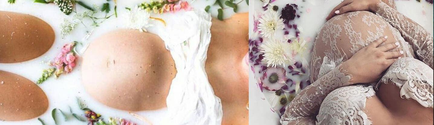Mleczna kąpiel: Nowy trend w fotografii ciążowej