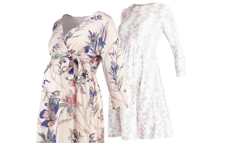 wiosenne sukienki w kwiaty dla ciężarnych