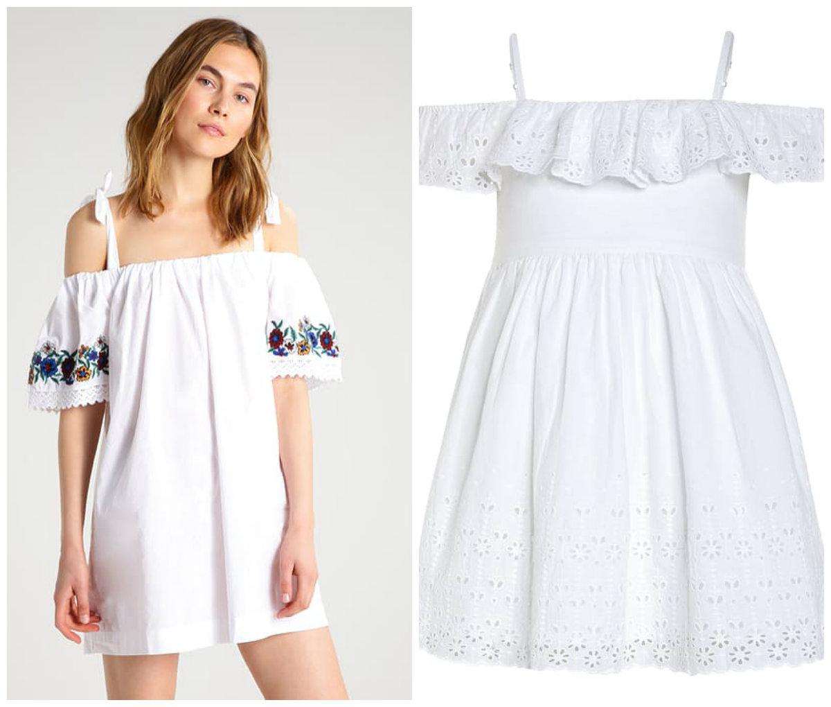 4a1a441275 Te dwie sukienki z hiszpańskim dekoltem tworzą naprawdę zgrany duet! Mamy  kreacja z Topshopu  KLIK  wyróżnia się dzięki oryginalnym haftom na bokach.  Jej ...
