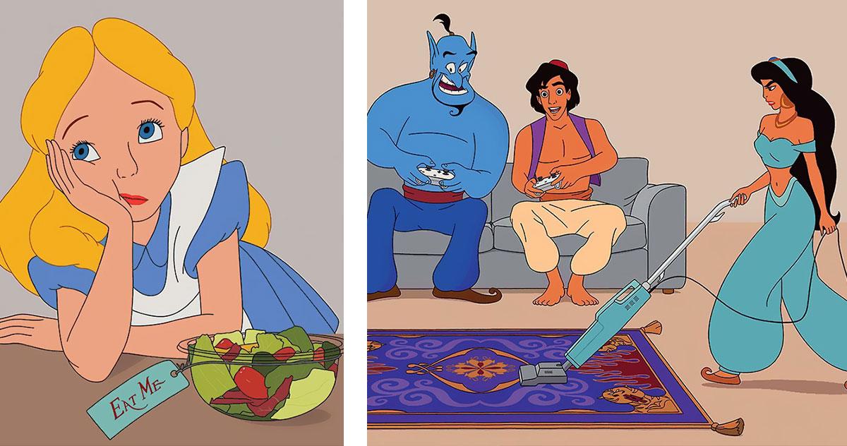 7 ilustracji Disneya, które udowadniają, że życie w 2017 roku to nie bajka