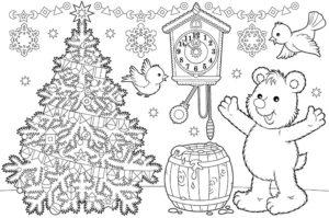 Kolorowanki świąteczne do wydruku - Misio