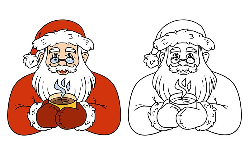 Kolorowanki ze Świętym Mikołajem do druku