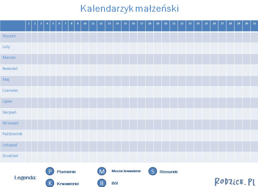 wzór kalendarzyka małżeńskiego